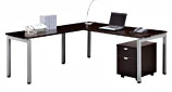 Table desks with moving modular cabinets