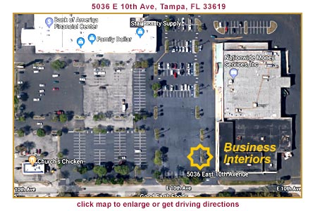 Map to Business Interiors of Tampa Bay